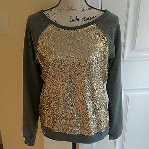 Bebe Gold sequin sweatshirt